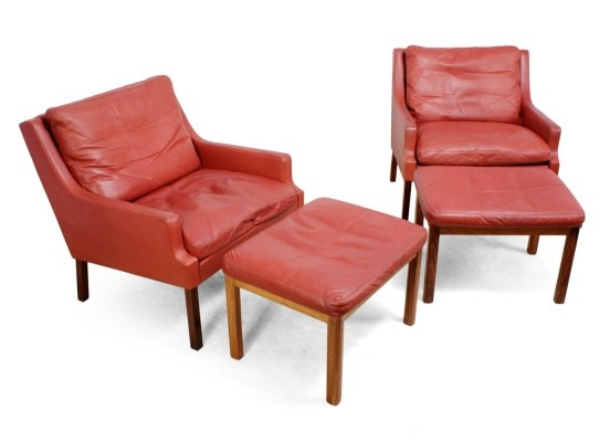 Danish Lounge Chairs by Johnny Sorensen in red leather with Stools