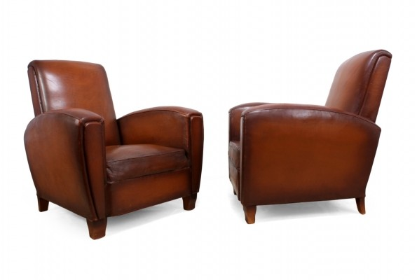 Pair of French Leather Club Chairs