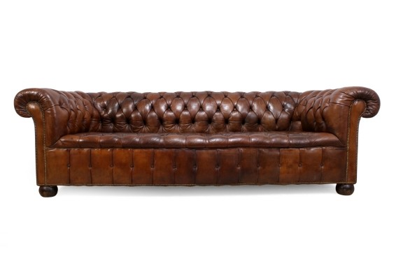 1930's English Leather Chesterfield