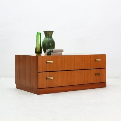 Low Walnut Chest of Drawers with Brass Knobs, 1960s