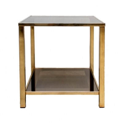 Belgo Chrome gold-plated vintage side table with shelf, 80s