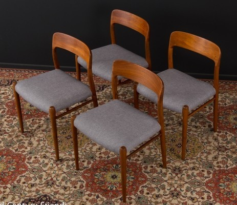 Set of 4 'model 75' Dining chairs by Niels O. Møller, 1950s