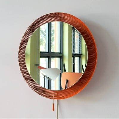 Orange perforated frame luminated mirror, 1960s