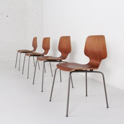 4 chairs by Georges Frydman for EFA , France circa 1955