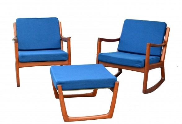 Ole Wanscher 'Senator' Danish Rocking Chair set of two with foot stool, 1960