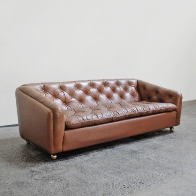Brown leather Artifort sofa by Geoffrey Harcourt, 1960s