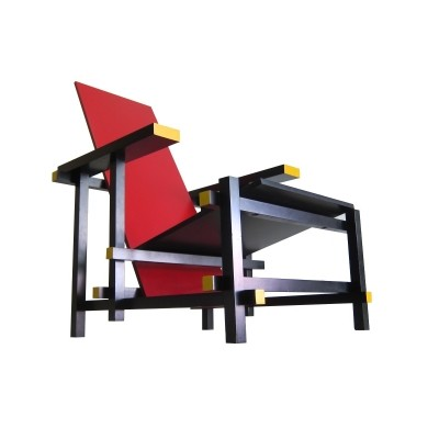 Vintage Cassina red & blue chair by Gerrit Rietveld