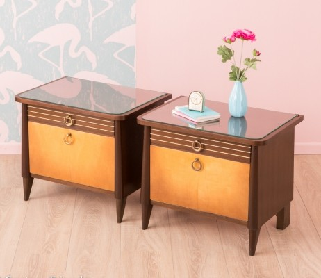 Two tone beside tables from the 1950s, set of 2