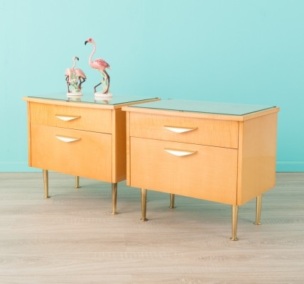 Set of 2 Cherry wood bedside tables, 1960s