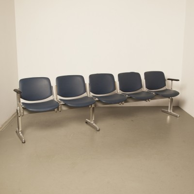 Castelli Piretti Axis 3000 bench 5-seater in blue leatherette