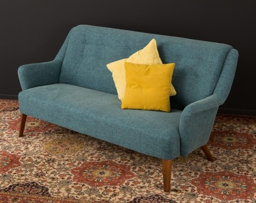 Petrol colored sofa from the 1950s
