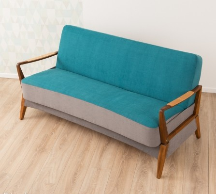 Sofa/daybed in turquoise & grey, 1950s