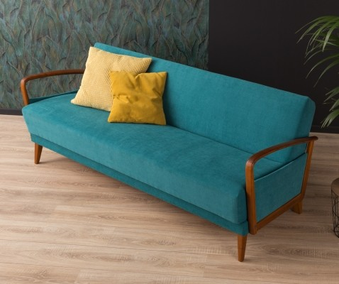 Petrol colored sofa/daybed from the 1950s