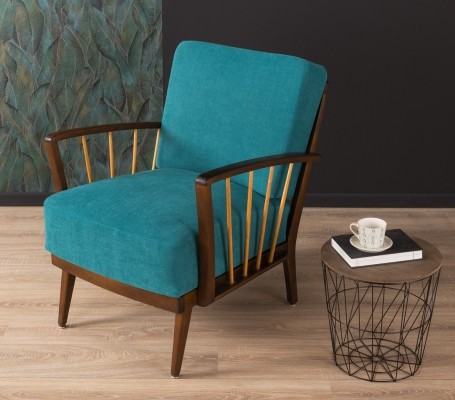 Petrol colored armchair, 1950s