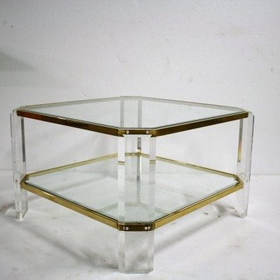Brass & lucite coffee table by Fedam, 1970s