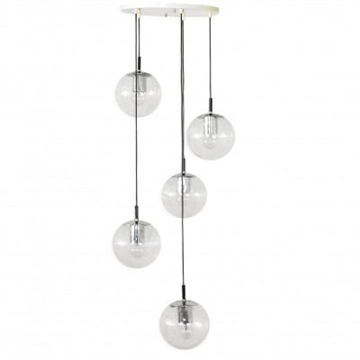Large Raak Chandelier with 5 'Light Drops', 1970s