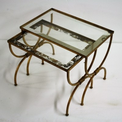 Set of gilt metal neoclassical nesting tables, 1960s