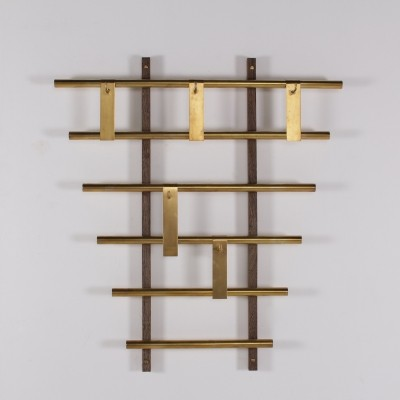 Wall brass & wengé coat rack