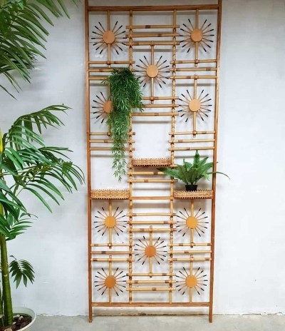 Vintage midcentury modern bamboo room divider wall unit