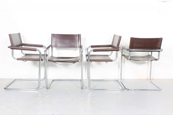 Set of 4 S34 arm chairs by Mart Stam for Fasem, 1980s