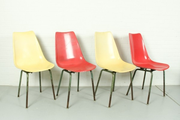 Set of 4 KVZ Semily fiberglass dining chairs, 1960s