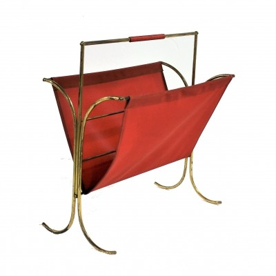 Vintage brass magazine rack with red vinyl, 1960s