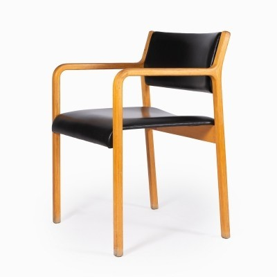 Wooden chair by Wilkhahn with armrests & black leatherette seat & back