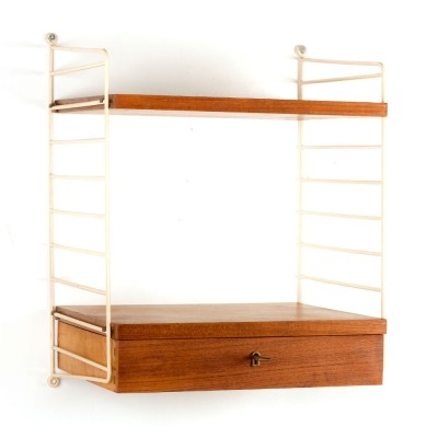 Swedish vintage small String wall unit in teak by Nisse Strinning