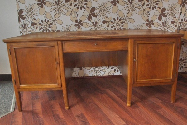 Office Writing Desk in Walnut, 1950s