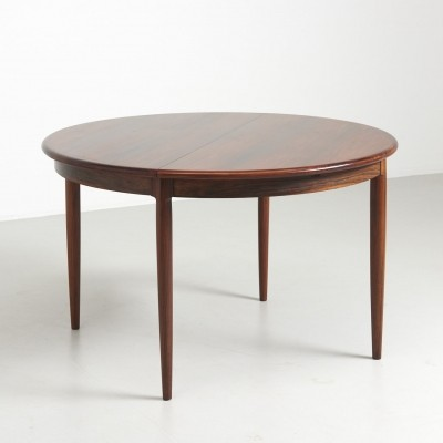 Round Rosewood Dining Table by Niels Møller, 1960s