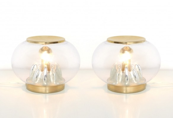 Pair of Italian Murano Glass Dome-Shaped Table Lamps with Brass Lids, 1970s