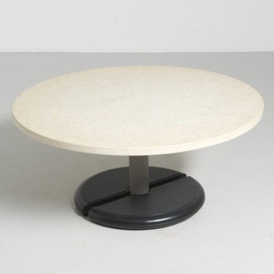 Round Travertine Coffee Table with Formica Base, 1970s