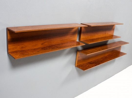 Set of Three Rosewood Wall Shelves by Walter Wirz for Wilhelm Renz, 1960s
