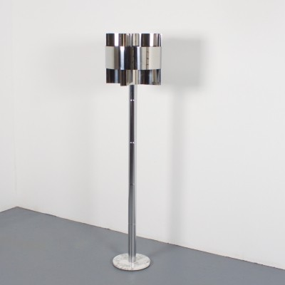 1970s Chrome & Marble Floor Lamp