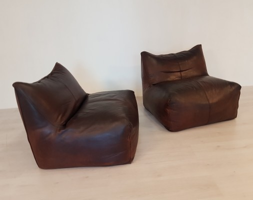Set of 2 dark brown leather Bambole chairs by Mario Bellini, 1970s