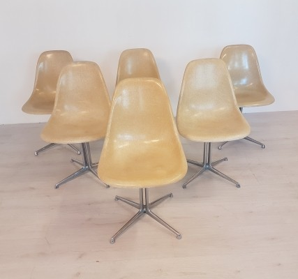 Set of 6 DSW la Fonda chairs by Eames for Herman Miller, 1970s