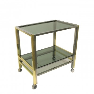 Brass & chrome two tier bar trolley, 1970s