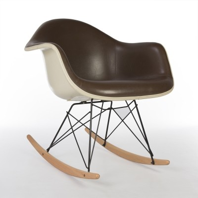 Original Herman Miller Brown Vinyl White Eames RAR Rocking Arm Chair