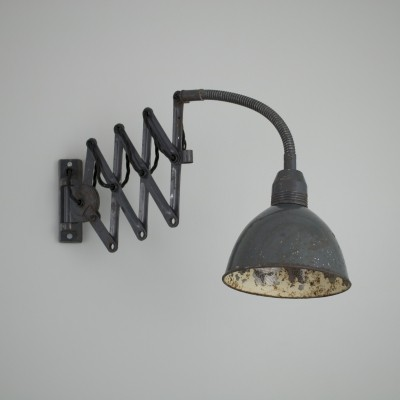Vintage Czech black machinists scissor wall light
