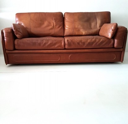 High quality thick cognac leather 'Miami' sofa by Baxter