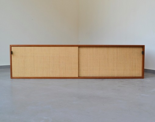 Extremely rare floating 'seagrass' storage cabinet by Florence Knoll for Knoll Int. 1950's