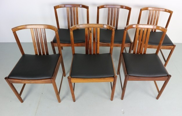 Set of 6 solid rosewood dining chairs, 1960s