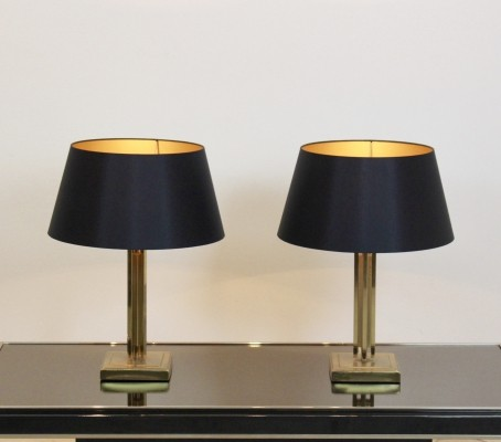 Pair of Gaetano Sciolari Brass Mid Century Modern Table Lamps