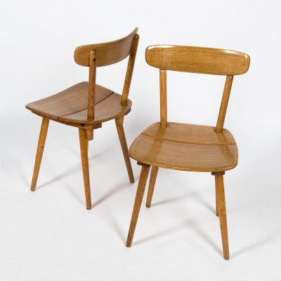 Iconic pair of ash chairs designed by Jacob Müller