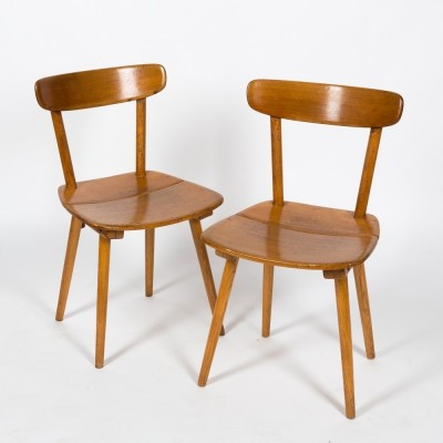 Iconic pair of fir chairs designed by Jacob Müller