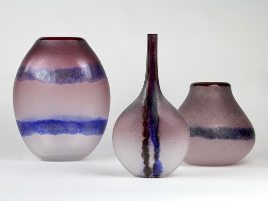 Elegant purple 'Scavo' vase set by Alfredo Barbini, Murano 1960s