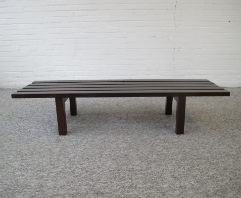 Vintage wengé wood slatted bench, ca 1960