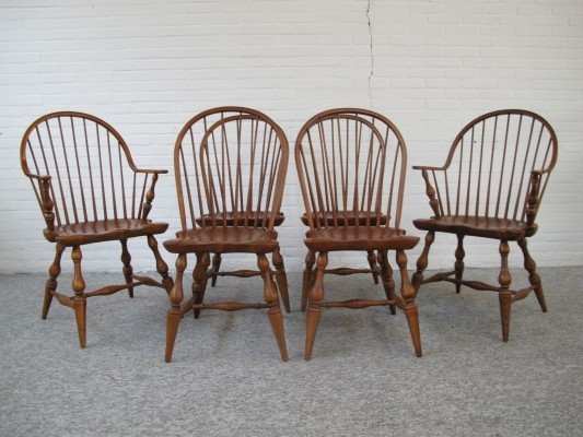 Set of six vintage solid dining chairs, 1970s