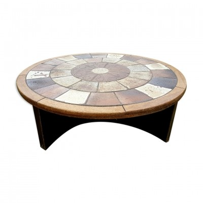 Round coffee table with tile inlay by Tue Poulsen for Haslev, 1960s
