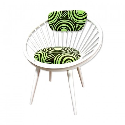 White circle chair by Yngve Ekstrom for Swedese 1960s